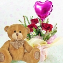 15cm Bear and a Heart-Shape Balloon with 3 Red Roses Standing Bouquet.