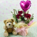 6 Inches Bear and a Heart-Shape Balloon with 3 Red Roses...