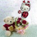 9 Inches Teddy Bear In Red Sweater and Hello Kitty  Balloon with 3 Red Roses Standing Bouquet