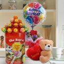 "5"" Bear with Lollipop Candies With Rose & Birthday Balloon."