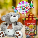 25cm Bear with Lollipop Candies & Happy Birthday Balloon