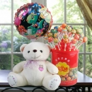"10"" Bear with Lollipop Candies & Happy Birthday Balloon"