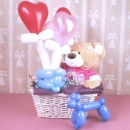 Balloon Flowers & 18 inches Bear