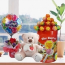 "6"" Bear with Lollipop Candies With Rose & Birthday Balloon."