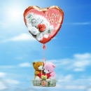 A Pair Of Love Bears in a basket with 18 Inch Helium Filled Heart (I Love You ) Mylar Floating Balloon