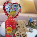 "8"" Bear with Lollipop Candies With Rose & Birthday Balloon."