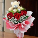 3 Red Roses with Bear and Ferrero Roche at centre