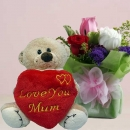 "3 Mixed Color Roses with (Love You Mom) Mini Heart-Shape Pillow 6"" Bear."