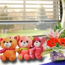 16cm Bear (Pls Choose One Color Only) & Mixed Flowers Standing Bouquet.