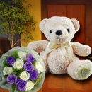 25cm Bear with 6 White & 6 Purple Roses HandBouquet