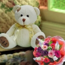 Bear 15cm With Artificial Roses Bouquet