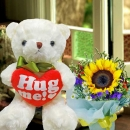 20cm (Hug Me) Bear With Sunflower Standing Bouquet