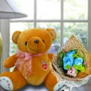 30cm Bear with 3 Blue Roses Singapore Hand Bouquet Delivery