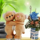 "6"" Couple Bear with Blue Rose"