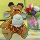 "Giraffe 8"" With Roses Standing Bouquet"