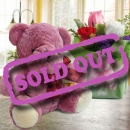 20cm Lavender Pink Bear & Roses Standing Bouquet