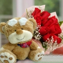 Red Roses Posy With Bear