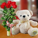 "10"" Bear with 6 Red Roses Standing Bouquet"