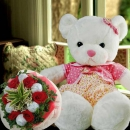 "22"" Bear & Red Roses Hand Bouquet"