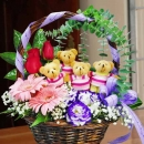 4 Mini Bears With Roses Basket Arrangement