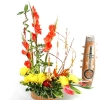 Red & Golden Color flower arrangement with Pussy willow & Curly