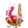 Red Flowers & Orchids Table Arrangement