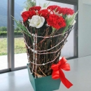 6 Fresh Red Carnation & Artificial White Roses
