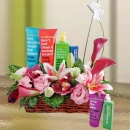 Anatomicals� Skin Care Gifts & Calla Lilies In Basket