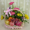 Mixed Gerberas and Fruits Arrangement