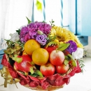 Hydrangea, SunFlower, Small Plant With Fruits Basket Arrangement