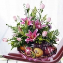 Pink Lilies & Roses With Fruits