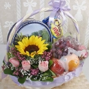 Mixed Fruits, Sunflower, Roses Flowers & 2 assorted Biscuits/Cookies Basket Arrangement Delivery