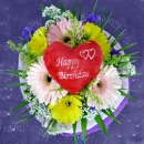 3 Pink 3 Yellow Gerberas with Happy Birthday Heart-Shaped tag