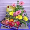 Fruits and Flower Basket with Chicken Essence...