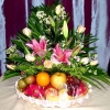 8 Champagne Roses with Pink Lily and Fruits Basket...