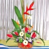 Red Anthurium and Heliconia arrangement