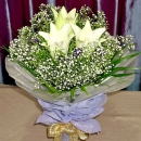 3 White Lily Hand Bouquet
