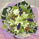 6 White Lily Hand Bouquet