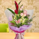 Pink lily, Roses and ginger flowers Handbouquet