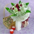 4 White Lilies and 10 Red Roses Handbouquet