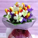 2 Tone Yellow-Red Tulips mixed with White Orchids