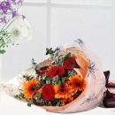 Red Roses & Orange Berbera Bouquet Delivery