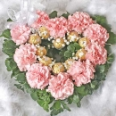 10 Pink Carnations & 10 Ferrero Rocher Heart-Shape Table Arrangement