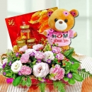 Pink Carnation with Bird's Nest 6 Bottles and 18cm Bear