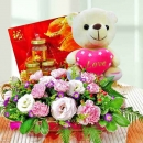 Pink Carnation with Bird's Nest and 16cm Love Bear