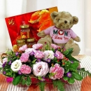 Pink Carnation with Bird's Nest 6 Bottles and Bear