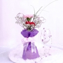 2 Mixed Color Carnations in Heart-Shape Wire Mesh