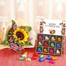 Sunflower Bouquet with Heart-Shape Chocolate