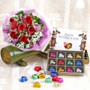6 Red Roses Handbouquet WithHeart-Shape Chocolate