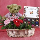 """MoM-i-Love u"" Bear, Carnations with Heart-Shape Chocolate"